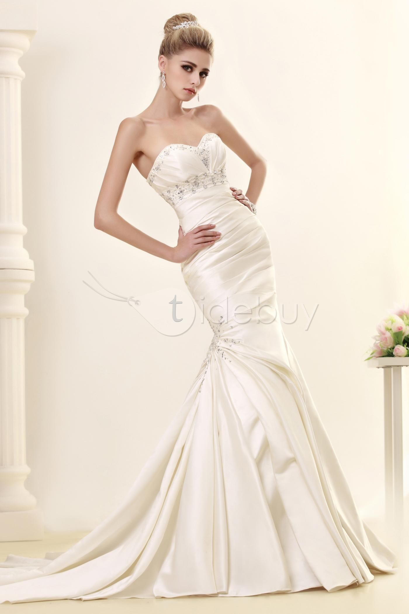 Tulle mermaid wedding dress  Sexy Ruched Sweetheart Beaded Mermaid Wedding Dress  Mermaid