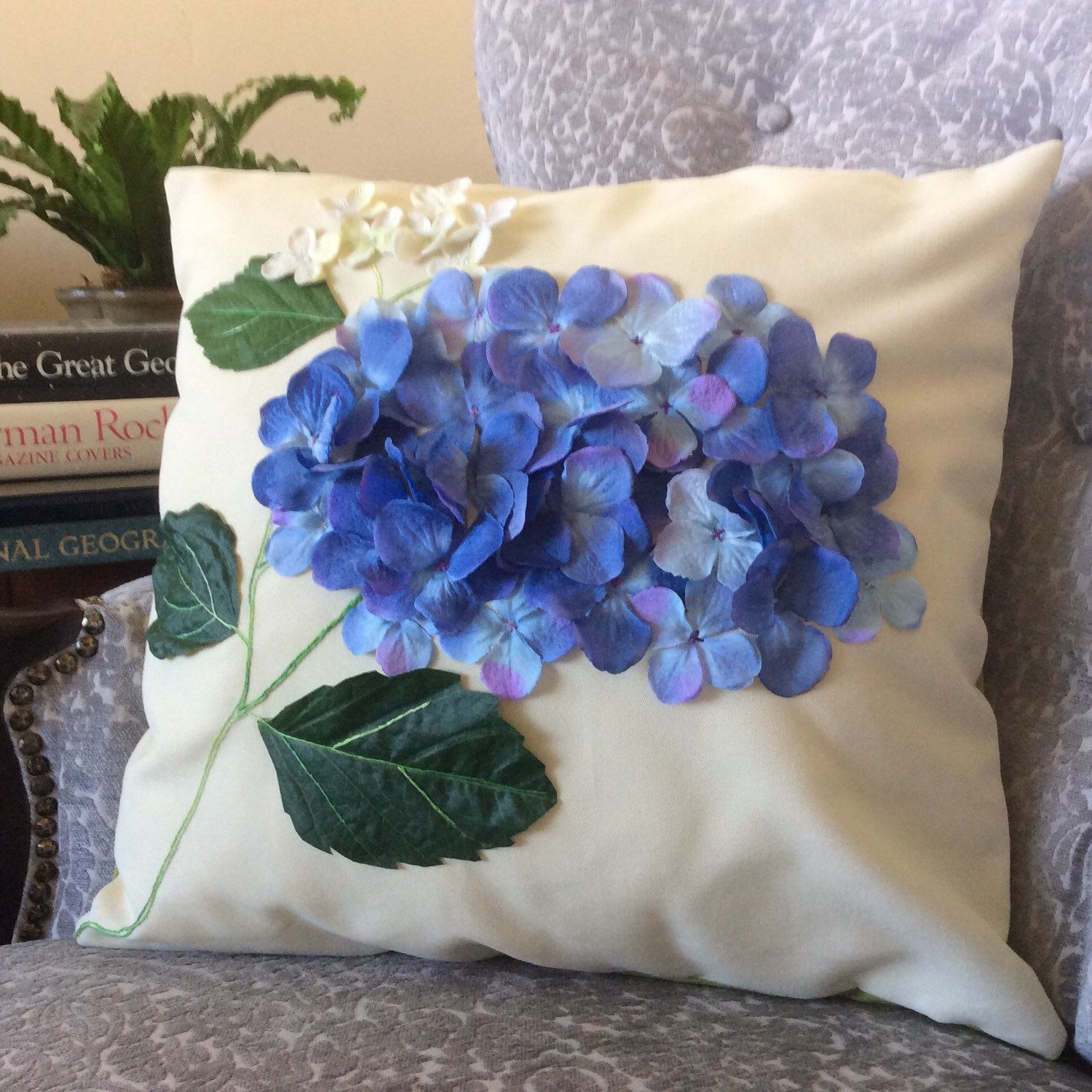 Outdoor Pillow Cover, Sun Shade Pillow, Hydrangea Pillow, Floral Applique, Blue Flower Pillow,Outdoor Wedding Decor, Water Resistant Pillow by AngieandLois on Etsy https://www.etsy.com/listing/232834882/outdoor-pillow-cover-sun-shade-pillow
