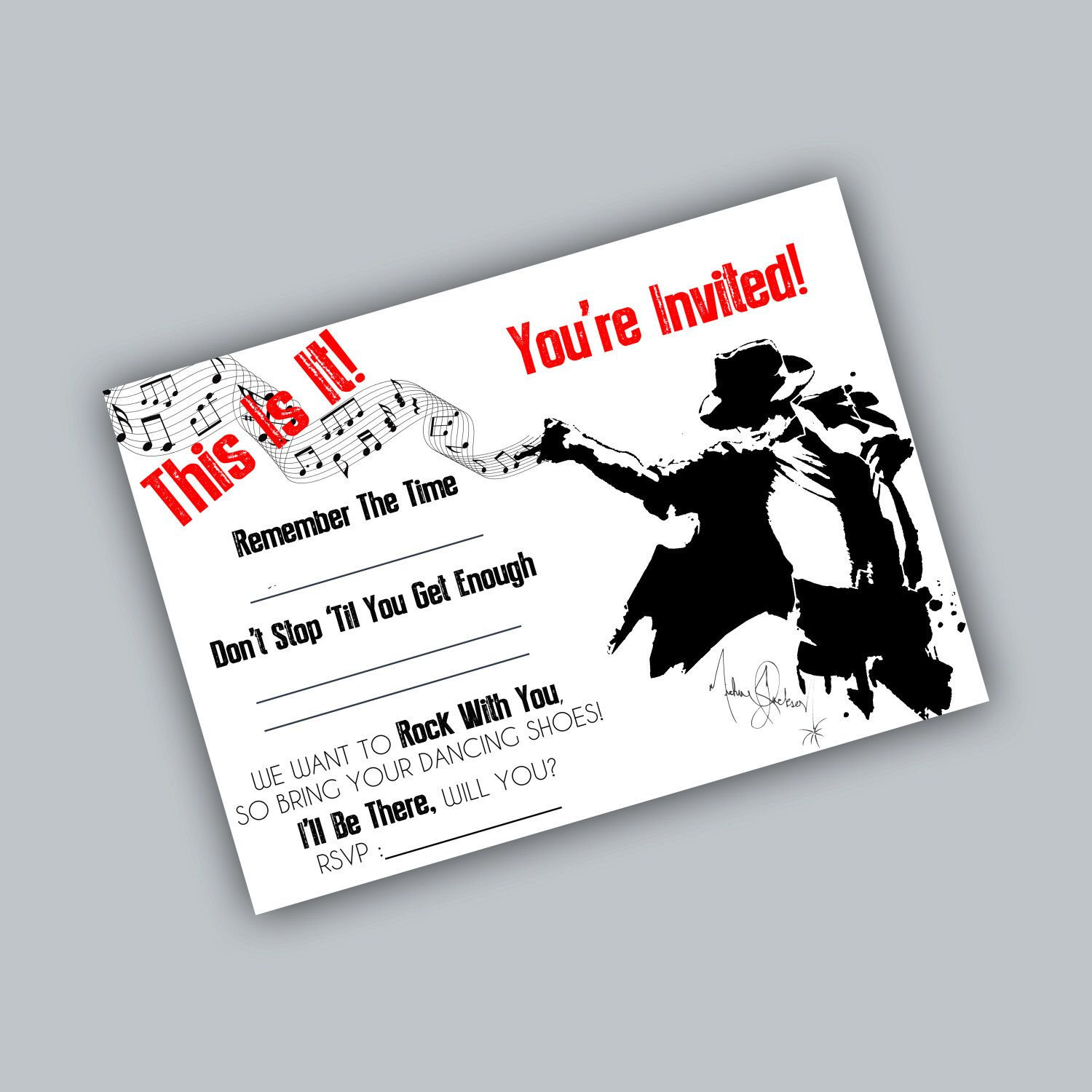 Printable Michael Jackson Party Invite | Simplicity | Pinterest ...