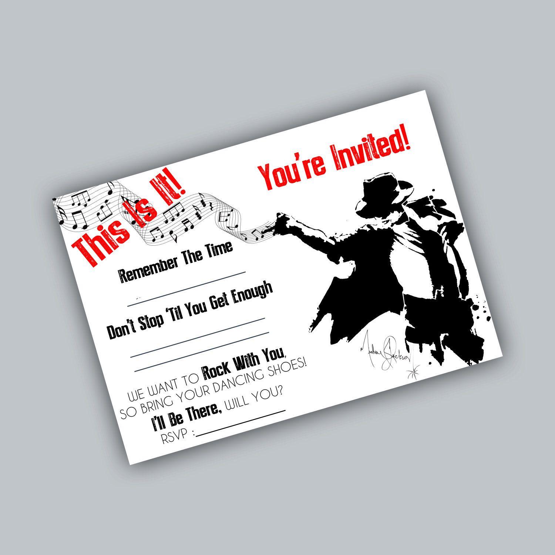 Printable Michael Jackson Party Invite