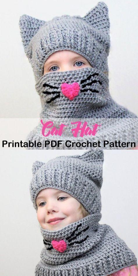Ein niedlicher Katzenhut! Tierhut häkeln Muster - Häkelanleitung pdf - amorecraftyl ... - Strickmuster #crochethatpatterns