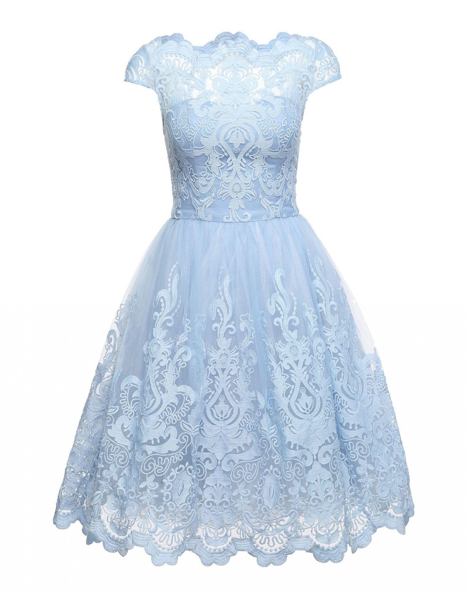 3 Kleid Spitze Hellblau in 3  Chi chi london kleid