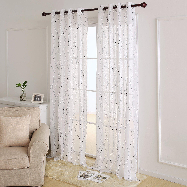 Deconovo White Sheer Curtains 96 Wave