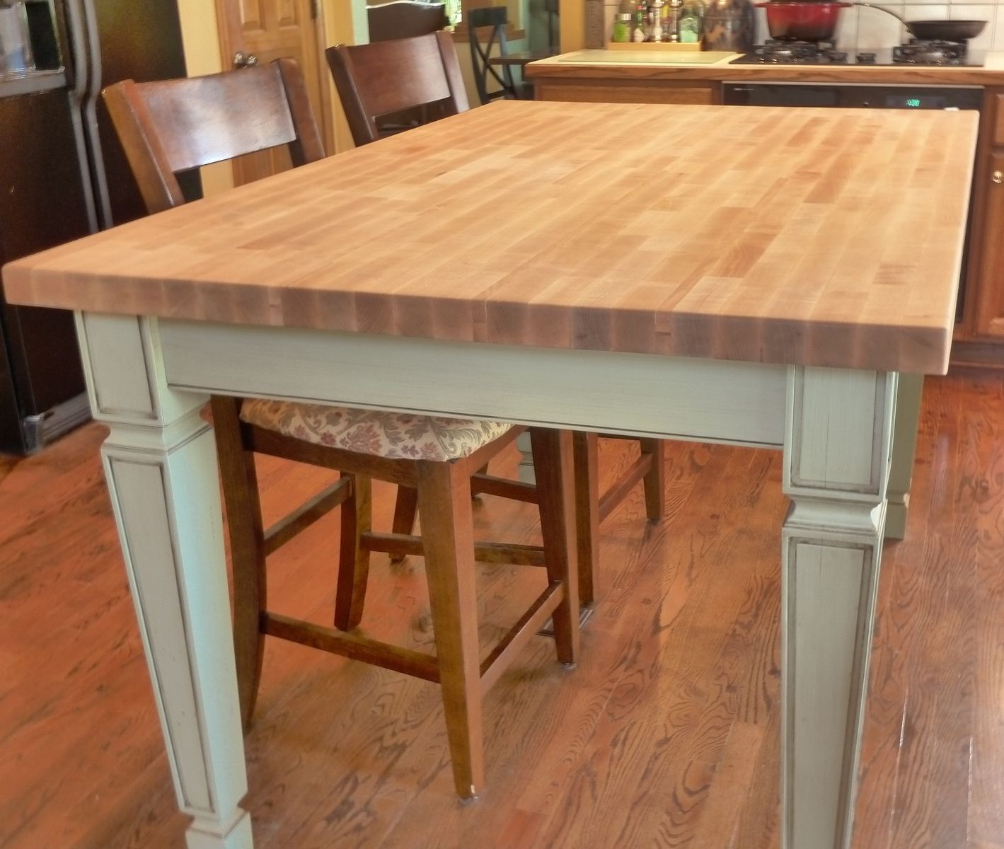 Dining Room Kitchen Tables Butcher Block Table Made Reclaimed Maple Island  With Pipe Legs