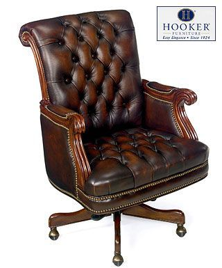 hooker brown antique leather executive office chair desk wheels covers without