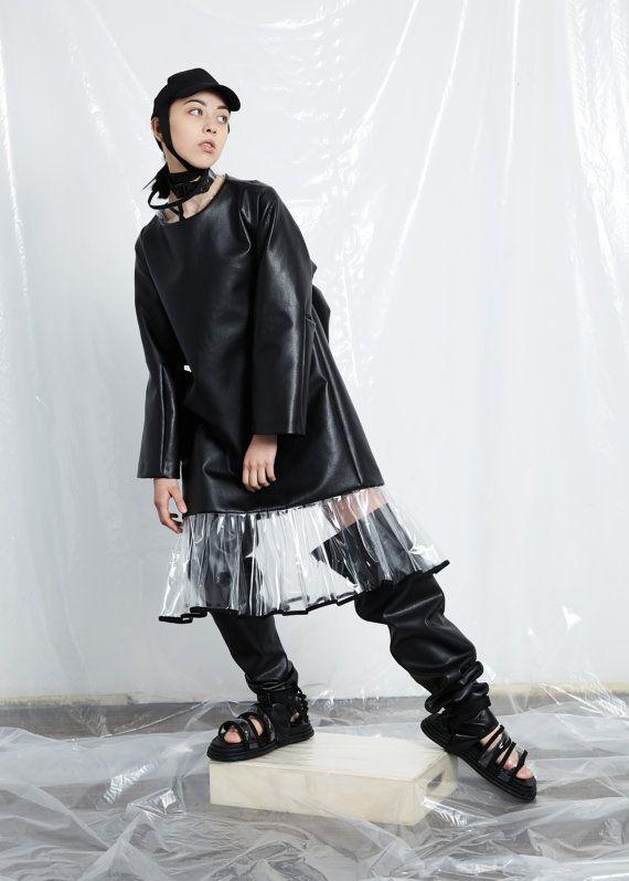 64749b11236 Black dress - Concept clothing - handmade dress- Detail- Geometric dress -  Event dress