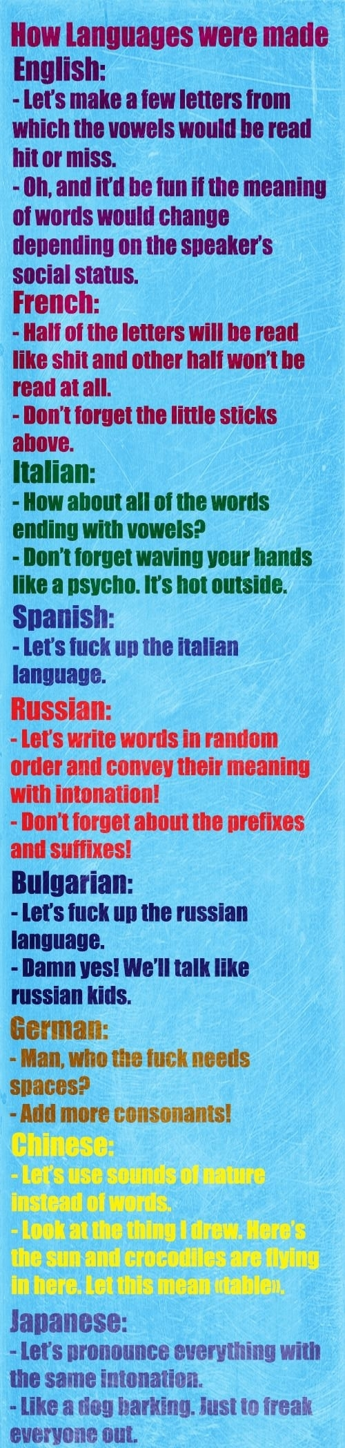 How languages were made  - funny pictures #funnypictures