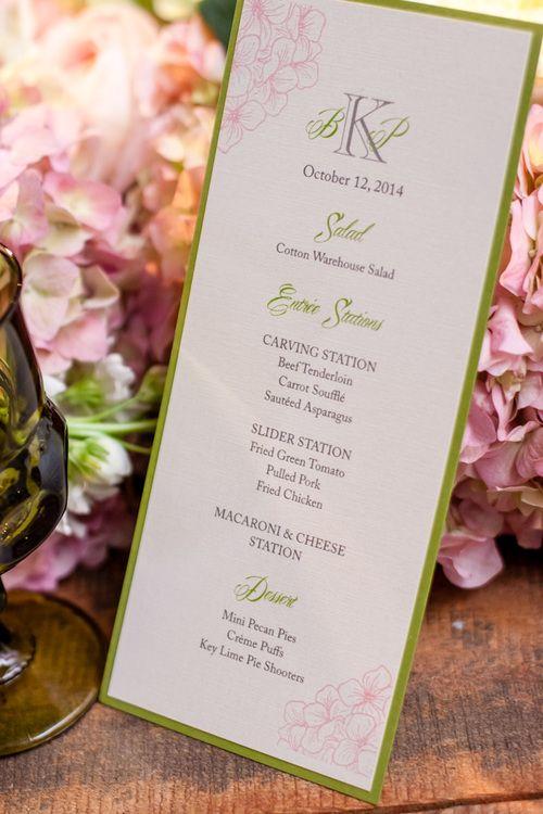 | Wedding at Belle Meade Plantation | Fete Nashville Luxury Wedding Planning | Luxury Nashville Wedding Planner | Fete Nashville Event Design | Menu | Gold | Cake | Bride | Groom | Light Pink | Candles | Dancing | Fun | Love | Reception |