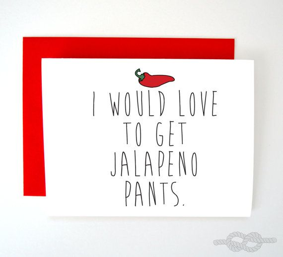 Jalapeno Pants, Funny Valentines Card, Card For Husband