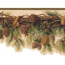 sculpted rustic lodge pinecone swag wallpaper border products i rh pinterest com