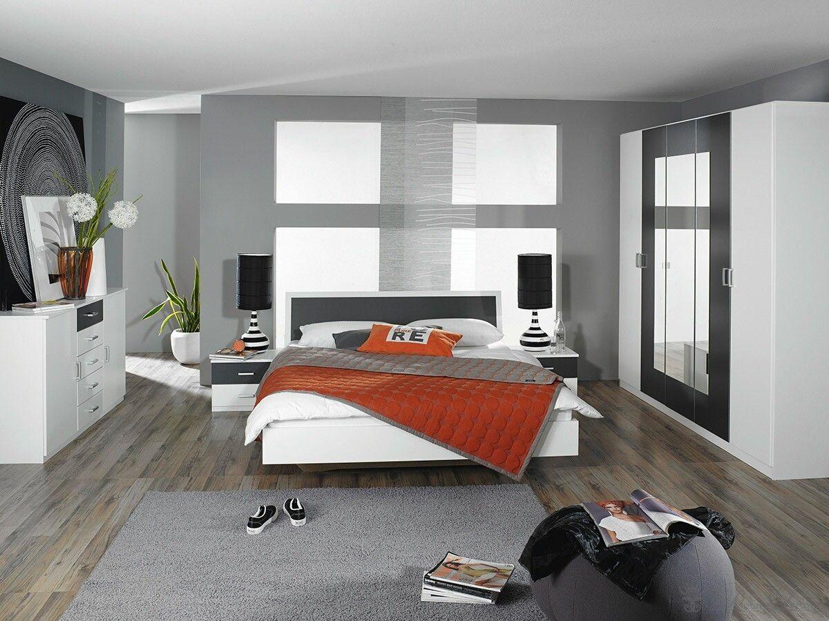 Schlafzimmer Tamia in Weiss Grau mit Bett, 2