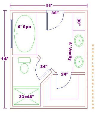 14ft X 6ft Master Bathroom Floor Plan With Bath And Shower
