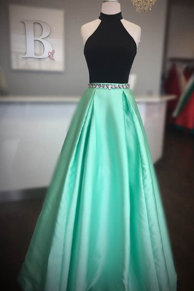 Elegant High Neck Two Piece Black And Mint Green Long Prom Dress In