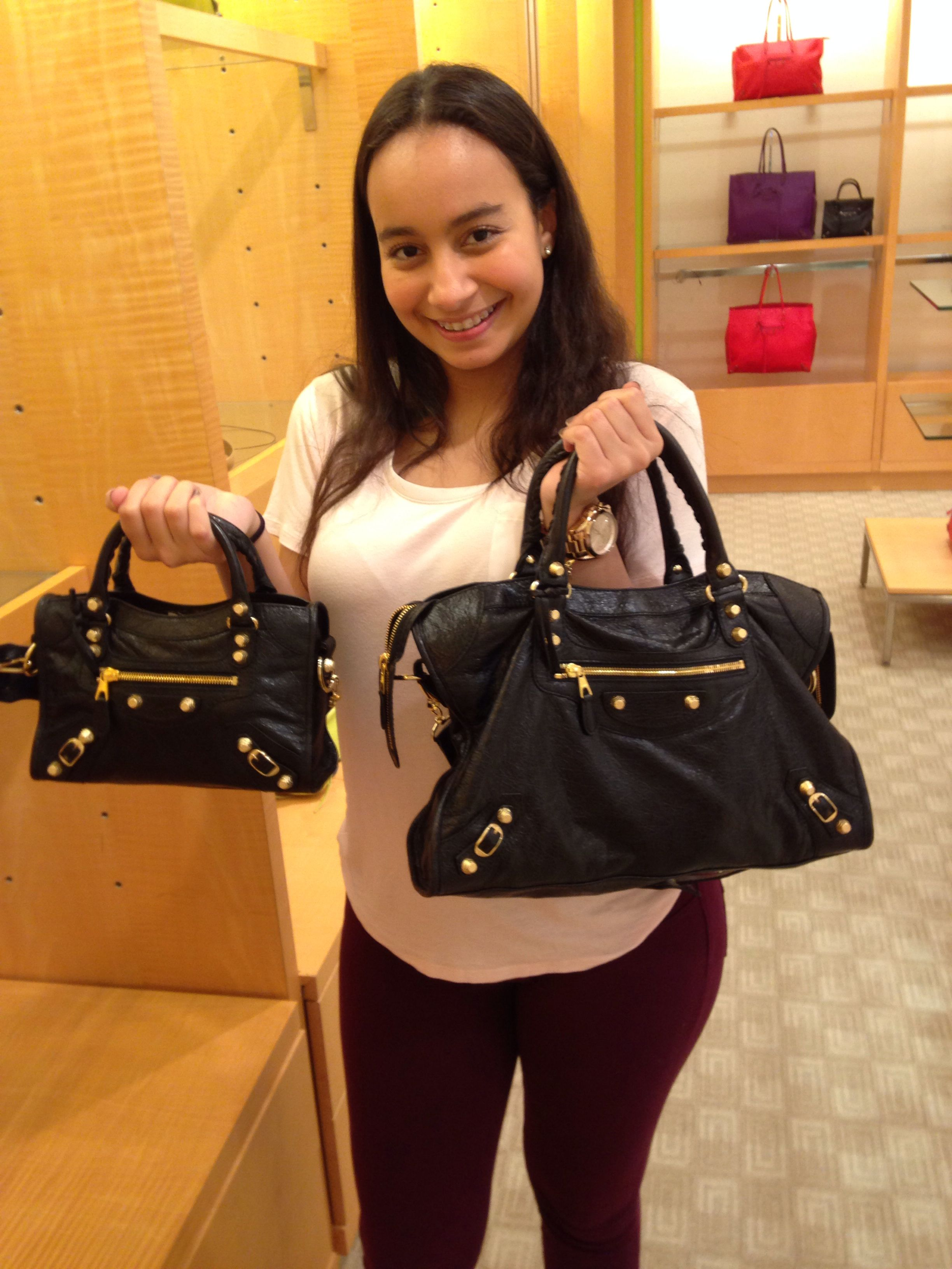 0474c2e85c On my right is my Balenciaga Giant 12 City Bag on the left is the Mini  version of my bag soooooo cute!