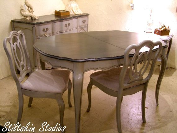 This Gorgeous Dining Table And Four Chairs Was Painted To