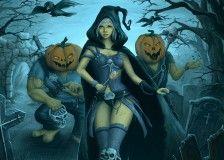 wich walking between Monsters Pumpkin in cemetery halloween art hd images for desktop background free download