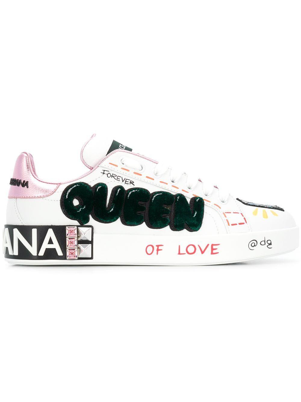 Dolce & Gabbana queen appliqué sneakers White | Dolce