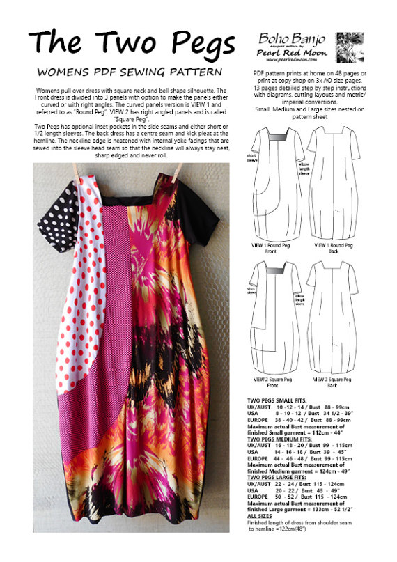 The TWO PEGS Dress, womens PDF pattern | Sewing | Pinterest | Sewing ...