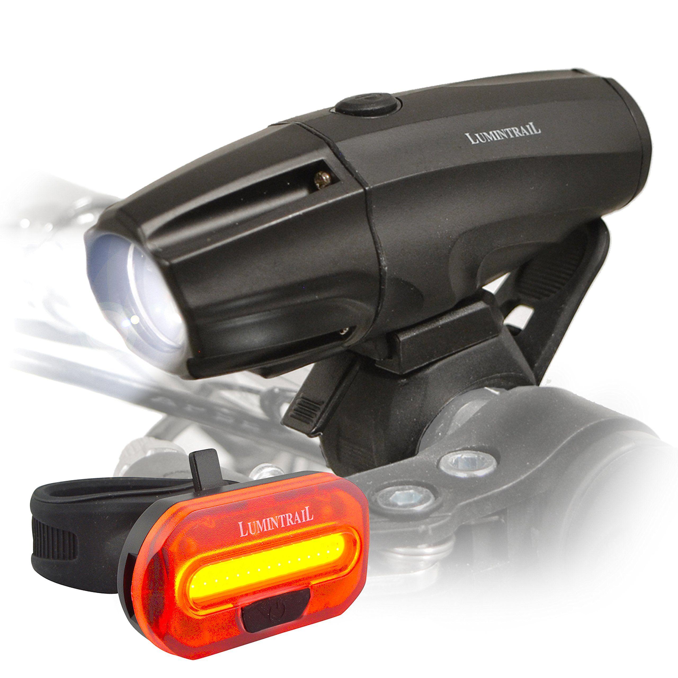 Lumintrail Super Bright Usb Rechargeable Led Bike Light Set