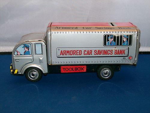 Vintage Made In Japan Tin Friction Armored Car Savings Bank Toy Toys