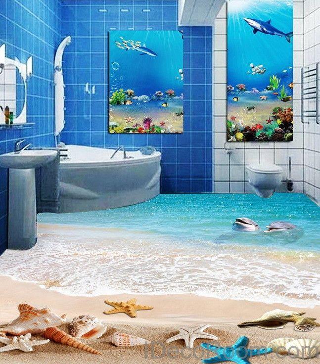 Dophin beach blue star fish shell 00011 floor decals 3d for 3d wallpaper for bathroom