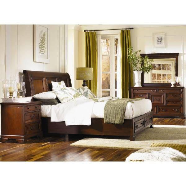 Richmond Queen Sleigh w/Footboard Storage Bedroom Group Aspen
