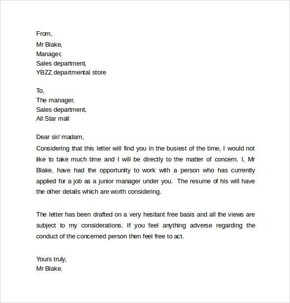 Personal Reference Letter Template - 40+ Awesome Personal