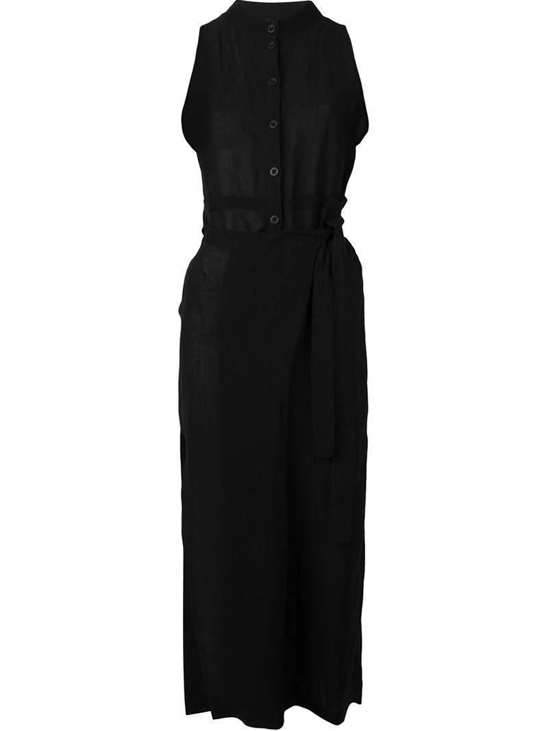 Lost & Found Ria Dunn side slit wrap jumpsuit, Women's, Size: Medium, Black, Linen/Flax/Viscose