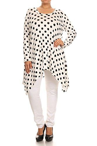 Women's PLUS Cute Polka-Dot Print Asymmetrical Hem Tunic…