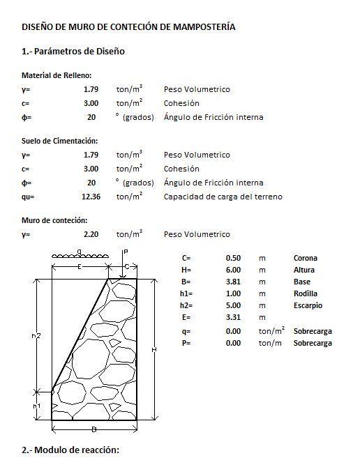 Dise o de muro de contencion mamposteria xlsplanilla de for Dimensiones arquitectonicas