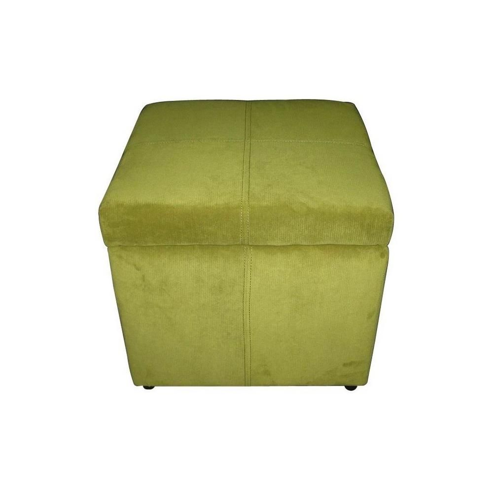 Enjoyable Noble House Square Green Microfiber Storage Ottoman 257021 Machost Co Dining Chair Design Ideas Machostcouk
