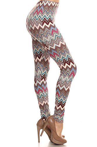 #Fashion High rise full length stretchable leggings with elastic waist band in mixed color #Ornate Chevron Inspired pattern print gives you a great look, good to...