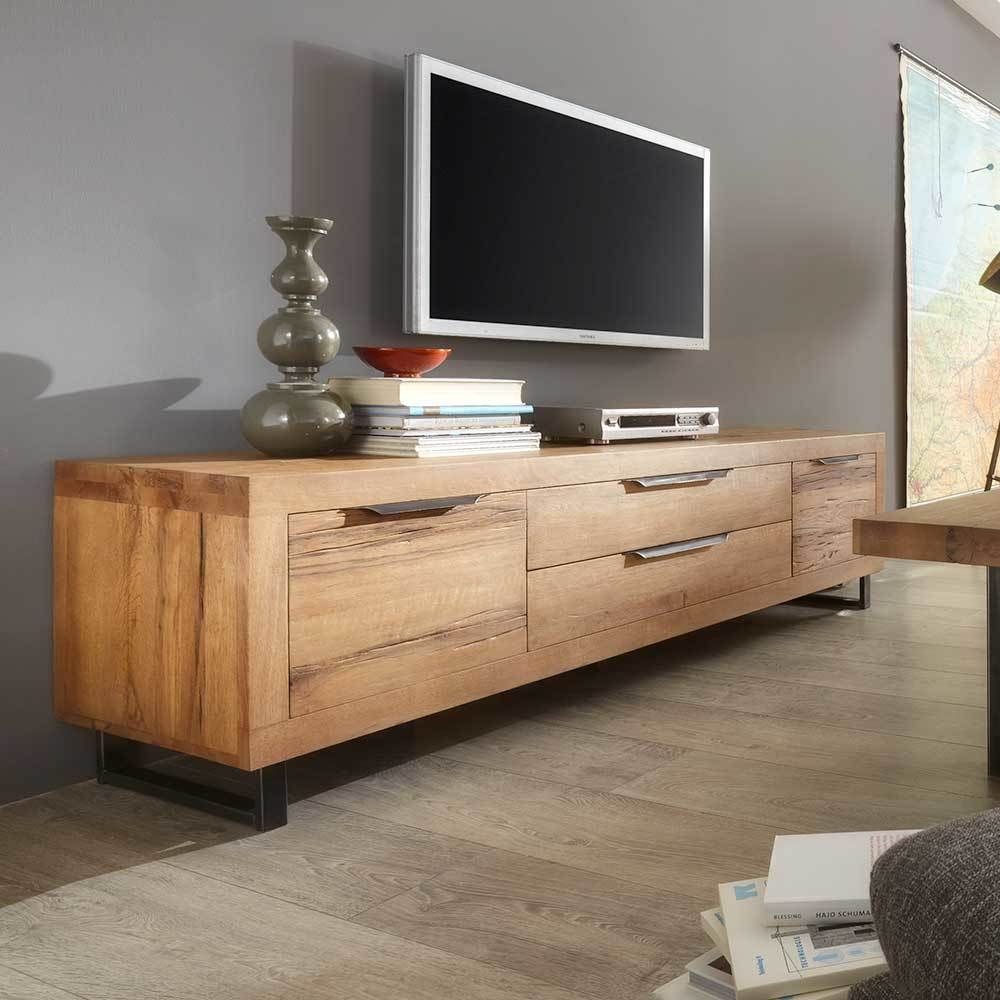 tv board aus eiche massivholz 200 cm breit jetzt bestellen unter. Black Bedroom Furniture Sets. Home Design Ideas