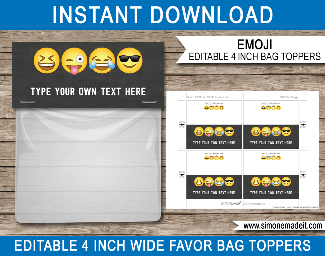 Printable pirate party decorations amp supplies free templates - Boys Emoji Theme Party Favor Bag Toppers Emoji Birthday Party Favors Printable Diy Template