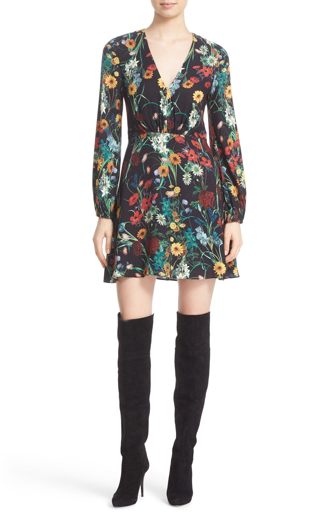 Alice + Olivia Cary Print Blouson Fit & Flare Dress (Nordstrom Exclusive) | Nordstrom