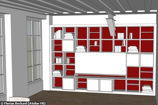 o mettre la t l vision dans le salon meuble biblioth que fermer et cacher. Black Bedroom Furniture Sets. Home Design Ideas
