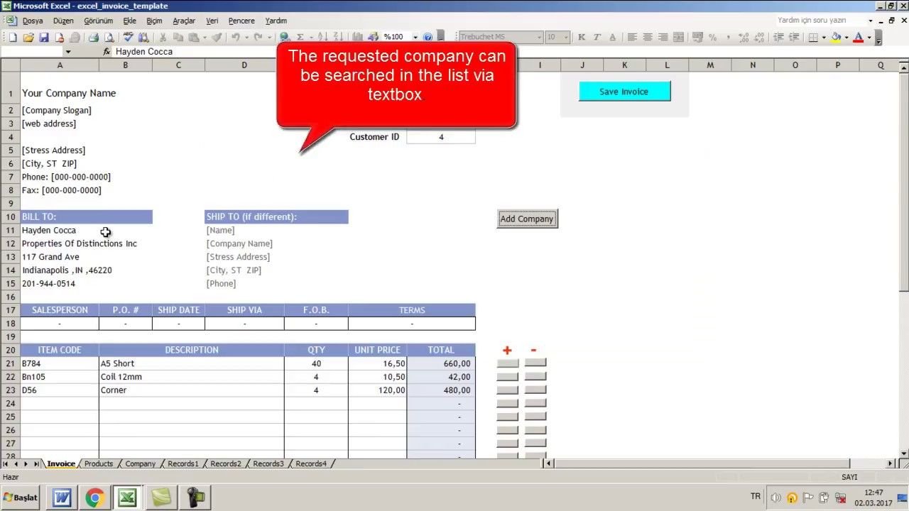 Create An Invoice Using Userforms And Vba Codes In this invoice ...