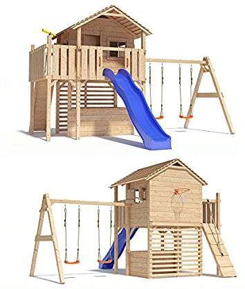 Maximo Spielturm Baumhaus Stelzenhaus Mit Doppelschaukel Kletterrampe Basketballkorb Und Rutsche Kinder Spielhaus Garten Hinterhof Spielplatz Kinder Baumhaus