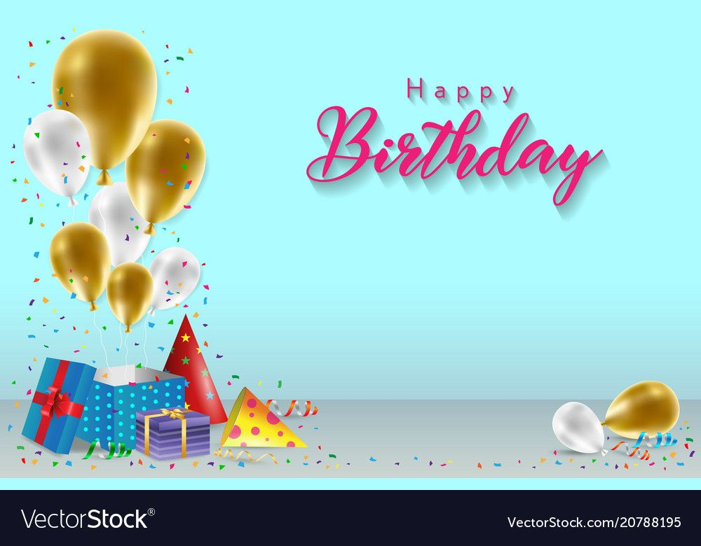 Happy Birthday Background Template With Balloons Gift Boxes And Confetti Design For Birthday Card Template Birthday Background Images Happy Birthday Template