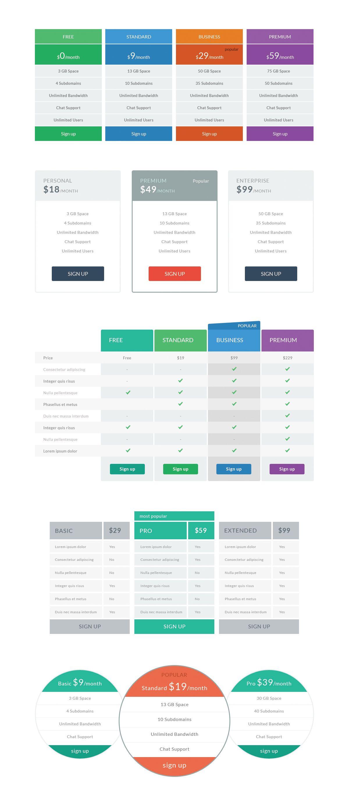 data table design inspiration. #Free #Flat Pricing Tables Data Table Design Inspiration F