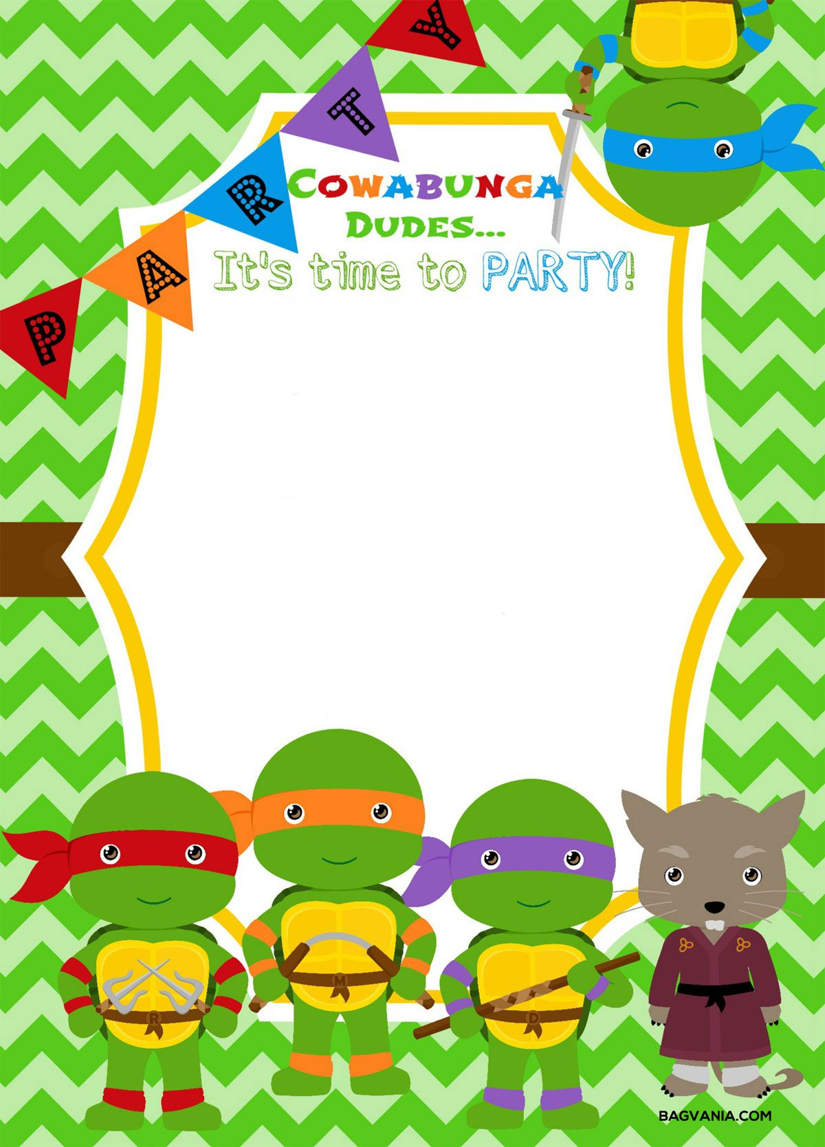 Download Now Free Printable Ninja Turtle Birthday Party Invitations