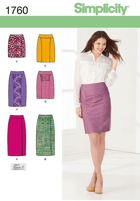 Ladies\' Skirts - Simplicity 1760 - Designer Sewing Pattern - Sizes 6 ...