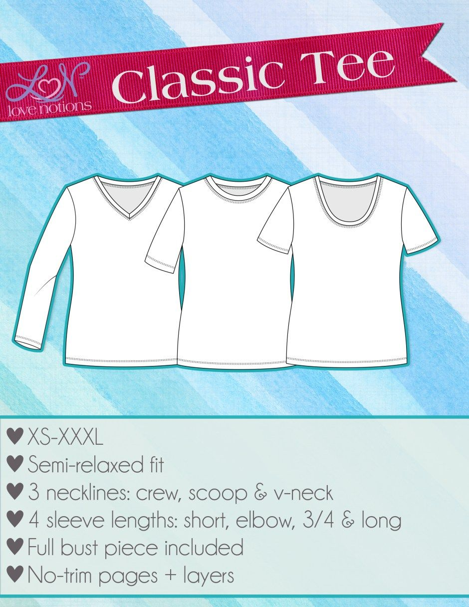8defe938e92b2 Sew up this knit Classic Tee pattern today. It s an easy and quick sewing  project