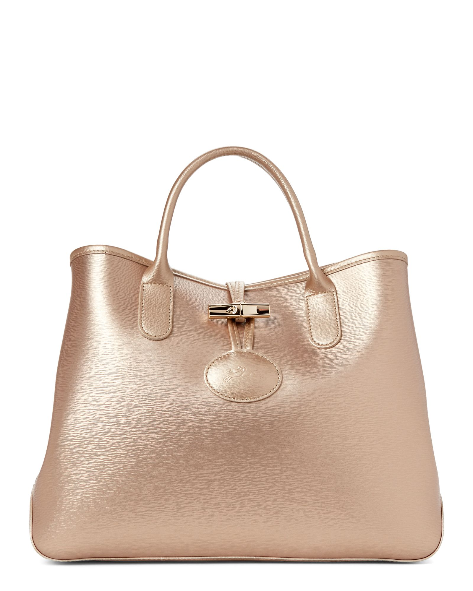 7854b147ced4 Longchamp Gold Roseau Small Leather Tote
