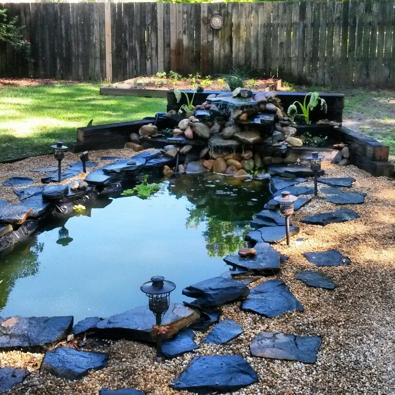 Diy koi pond and waterfall my home renovations projects for Backyard koi pond designs