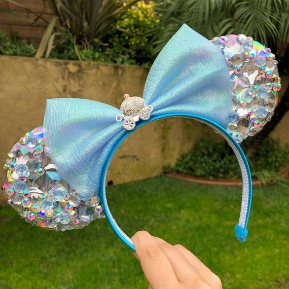 Pre-order Light up Cinderella Glass Slipper Crystal Princess Mouse Ears Flower Crown Headband Disney #crownheadband