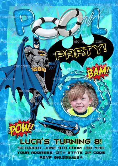 Batman Pool Party Invitation Batman Birthday Party Invite
