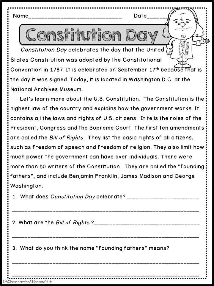 September Reading Comprehension Passages Reading Comprehension Passages Comprehension Passage Reading Comprehension Constitution worksheets 5th grade
