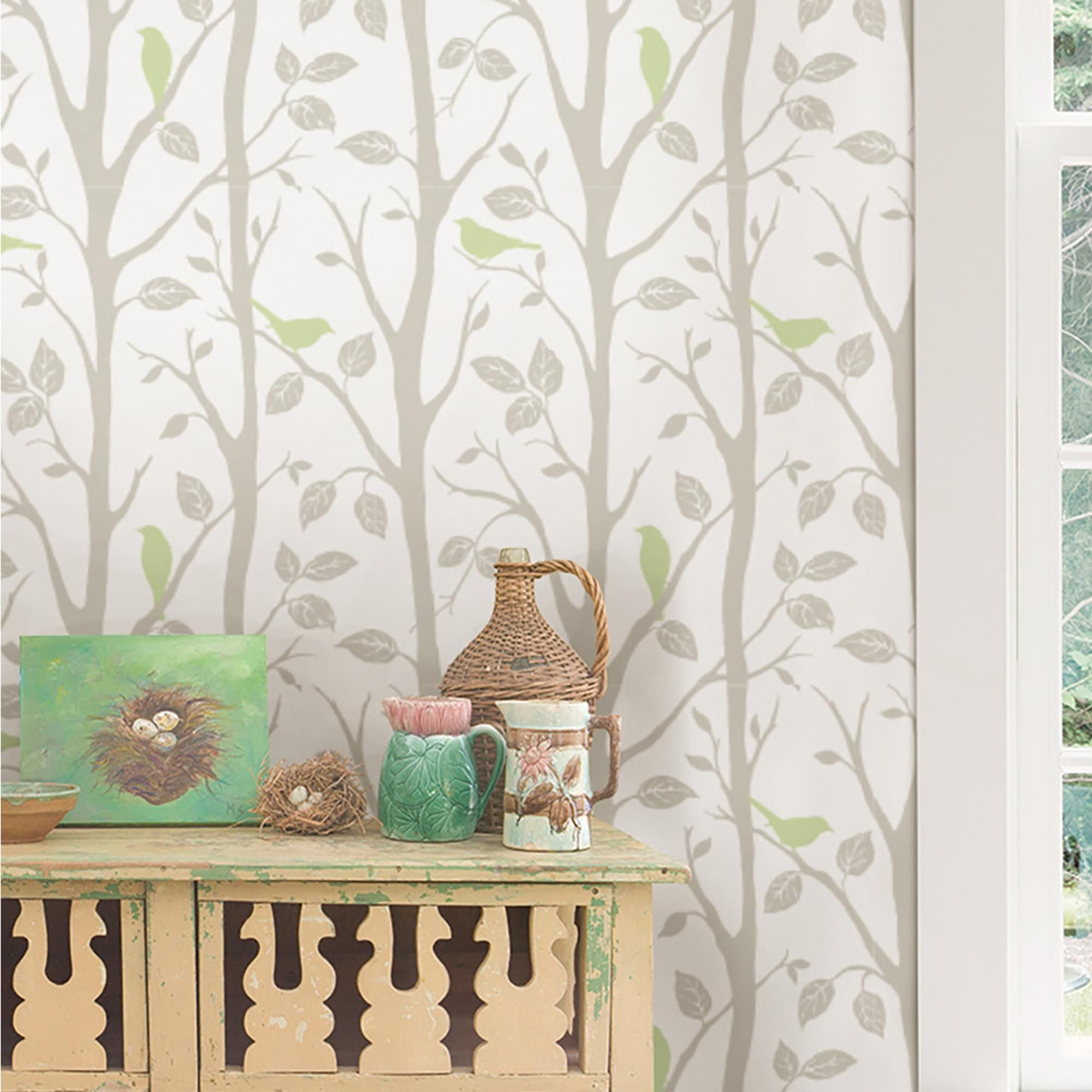 Nuwallpaper Sitting In A Tree Green Peel Stick Wallpaper Nuwallpaper Living Room Green Master Bedroom Wallpaper