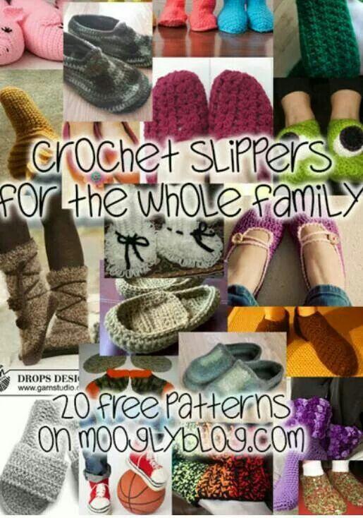 Slippers for the famly | Crochet | Pinterest | Ganchillo